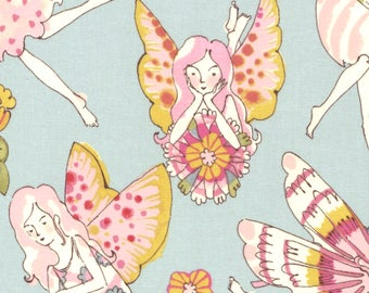 Alexander Henry Flower Fairy Fairies on Blue 100% Cotton Fabric - FQ