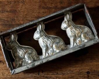 Vintage Three Sitting Hares Hinged Chocolate Mold