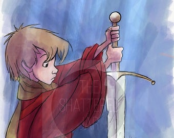 Sword and the Stone Watercolor Painting
