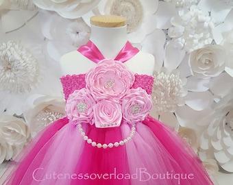 Hot Pink Flower Girl Tutu Dress-Hot Pink Tutu Dress-Hot Pink Girl Tutu-Hot Pink Birthday Tutu-Hot Pink Wedding Tutu.