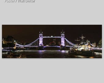 TOWER BRIDGE - London - England - UK - panoramic Photo - Poster - drawing Fine art - table - setting - finishing color