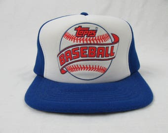 Vintage 80's Topps Trading Cards Baseball Trucker Hat cap
