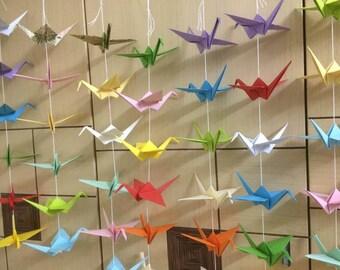 50 Strands Set of 6- Origami Cranes Garland- Paper Cranes Decoration - wedding decoration - anniversary - party ...