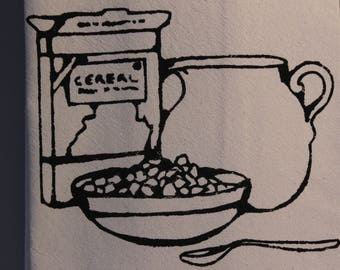 Kitchen Towel - Flour Sack Towel – Dish Towel Kitchen - Tea Towel – black ink - Mother's day – Cereal