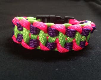 Pink, green and purple paracord bracelet