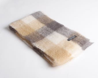Camel/White/Oxford Mohair Scarf