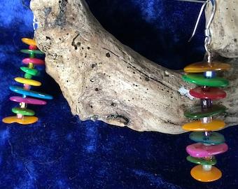 RAINBOW Earrings,  Mother of Pearl Earrings, Sterling Silver french hooks