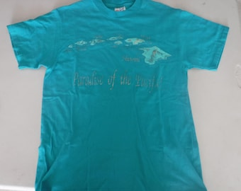 vintage teal Hawaii t shirt paradise of the pacific