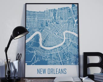 New Orleans Wall Decor new orleans city map | etsy