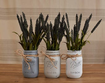 Distressed Mason Jars - Cool Greys (Set of 3)