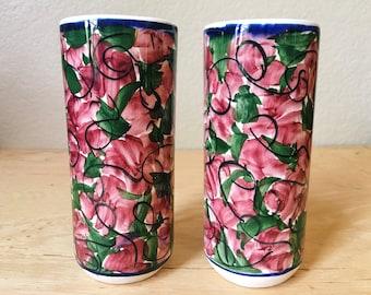 Vintage Ceramic Pink Floral Hand Painted Tumblers