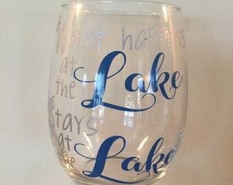"Set of 4 stemless ""Lake"" wine glasses"