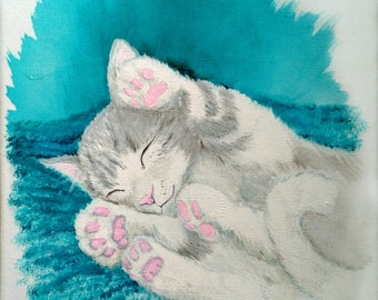 Gático asleep. Original painting in acrylic, 20 x 25