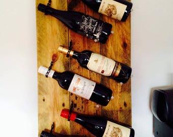 Rustic Wine Bottle Display Rack- Natural