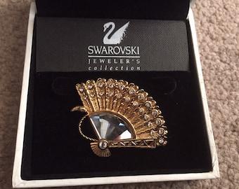 Swarovski gold vintage fan brooch