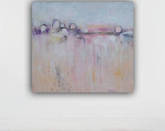 large abstract painting, original abstract painting , large wall art, pink,gray, acrylic on canvas, 32x36 inches, taupe, white
