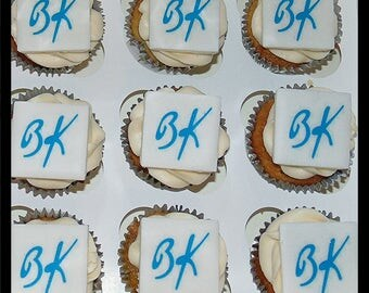 Logo fondant cake toppers x 12