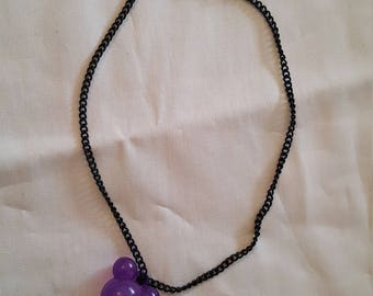 Metal and synthetic pendant girls necklace purple