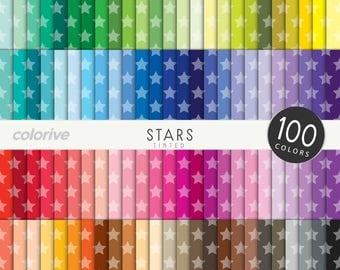 Tinted Stars digital paper 100 rainbow colors starry geometric stars background bright pastel printable scrapbooking paper
