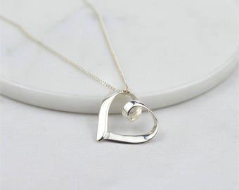 Silver Open Heart Necklace, silver heart necklace, silver necklace, gifts for mum, silver jewellery, open heart charm, silver heart,