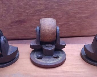 Antique Industrial Iron / Wood Casters.