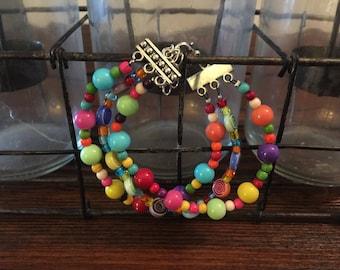 Rainbow triple bracelet