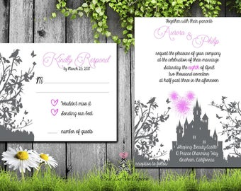 Sleeping Beauty Inspired, Hidden Mickey, Wedding Invitation Suite