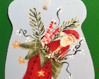 Handpainted Wood  Stocking Santa Claus Peppermint Sticks Mitten Christmas Ornament