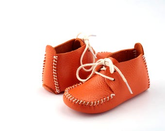First Step Handmade Natural Leather Baby Shoe EUR 18 - 19 Orange