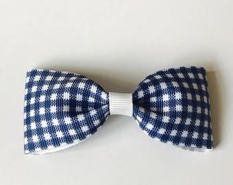 Navy Gingham Grosgrain Ribbon Medium Pinch Bow