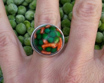 Peas and Carrots Ring or Pendant