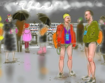 """Greetings card - """"Anoraks & Budgie Smugglers"""" - open water swimming, cold water swimming by Nancy Farmer. Swimmers at the Big Chill Swim"""