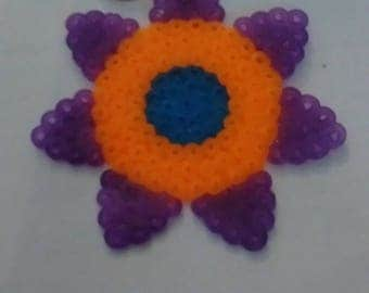 Purple & Orange Flower Keychain