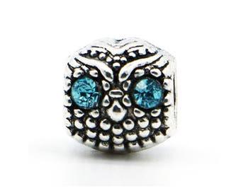 Silver Blue Eyes Owl Charm - Owl Charm - Good Luck Charm - Owl Charms - Fits all Charm Bracelets