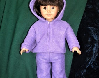18 inch doll purple hoodie and pants
