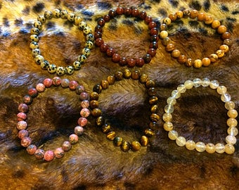 Gemstone bracelets.
