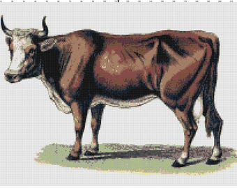Vintage Cow Cross Stitch Pattern (Pattern #005)