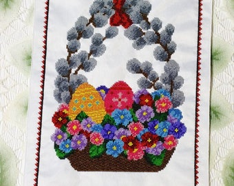 Beaded hand-embroidered Easter basket decorative towel placemat accessory flowers decorated eggs willow white satin Ukrainian Ukraine