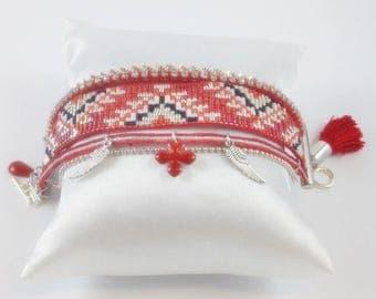 Cuff Bracelet beads Miyuki red and silver