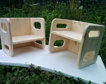 Montessori Inspired Cube Chair - Wood Chair -  Kids Chair