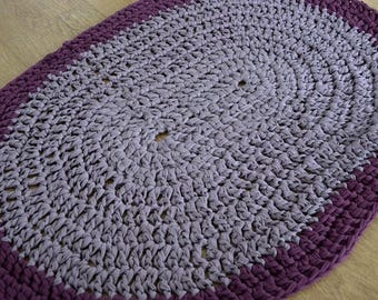 Large Oval Aubergine Purple Crochet Rug, Area Rug, Crochet Mat, Accent Rug