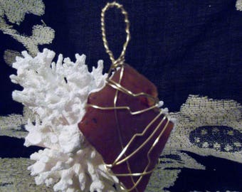 Wire wrapped Brown Sea Glass Pendant Only