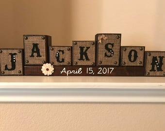 Wooden Name Blocks - Family Name Sign - Wedding Gift-  Mother's Day Gift - Housewarming gift