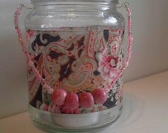 Pink paisley candle jar lantern