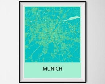 Munich Map Poster Print - Blue and Yellow