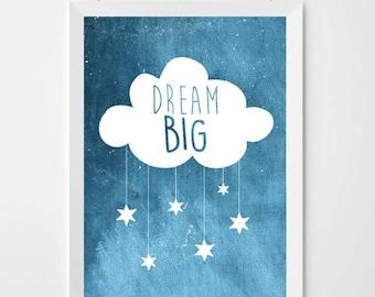 Dream Big Nursery Print, Art Unique Baby Gift, Nursery Print, New Baby Gifts, Baby, Nursery Gift
