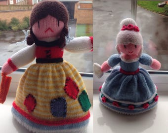 Hand knitted cinderella topsy turvy doll