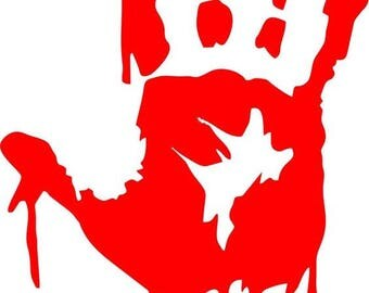 Bloody Handprint Horror Vinyl Car Decal Bumper Window Sticker Any Color Multiple Sizes