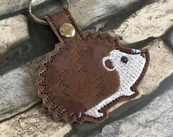 Hedgehog key fob, machinne embroidery design, ITH, in the hoop, 4x4, Hedgehog, keyring, key ring, fob