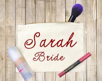 Bridesmaid Makeup Bag, Bride-to-Be, Maid of Honor, Matron of Honor, Cosmetic bag.